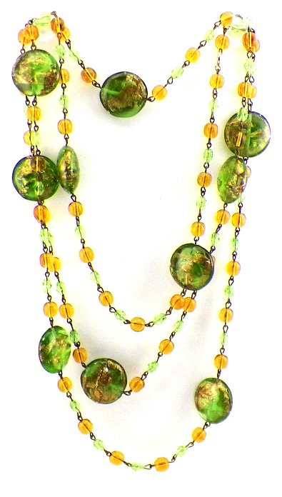Vintage Venetian Glass Bead Necklace Port Of Mystery